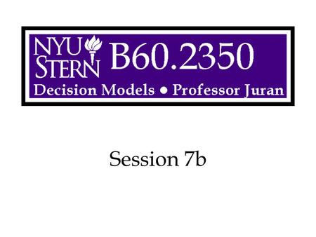 Session 7b. Decision Models -- Prof. Juran2 Example: Preventive Maintenance At the beginning of each week, a machine is in one of four conditions: 1 =