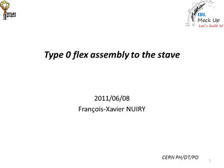 Type 0 flex assembly to the stave 2011/06/08 François-Xavier NUIRY CERN PH/DT/PO 1.