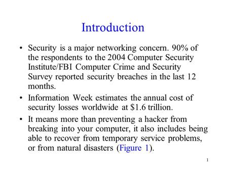 Introduction Security is a major networking concern. 90% of the respondents to the 2004 Computer Security Institute/FBI Computer Crime and Security Survey.