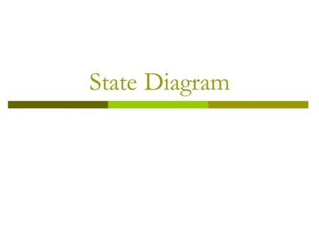 State Diagram. What is State Diagram?  State diagram is used to show the state space of a given class, the events that cause a transition from one state.