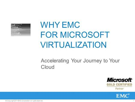 1© Copyright 2011 EMC Corporation. All rights reserved. WHY EMC FOR MICROSOFT VIRTUALIZATION Accelerating Your Journey to Your Cloud.