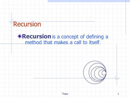 Trees1 Recursion Recursion is a concept of defining a method that makes a call to itself.