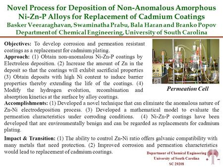Department of Chemical Engineering University of South Carolina SC 29208 Novel Process for Deposition of Non-Anomalous Amorphous Ni-Zn-P Alloys for Replacement.