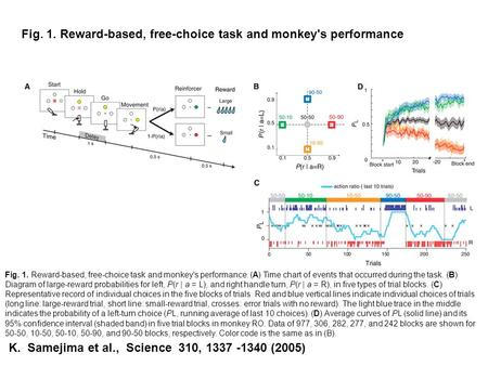 Fig. 1. Reward-based, free-choice task and monkey's performance. (A) Time chart of events that occurred during the task. (B) Diagram of large-reward probabilities.