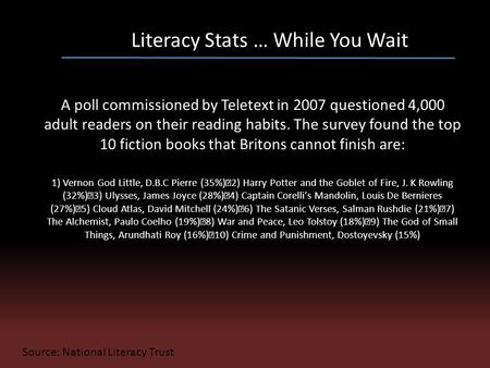 Literacy Stats … While You Wait A poll commissioned by Teletext in 2007 questioned 4,000 adult readers on their reading habits. The survey found the top.