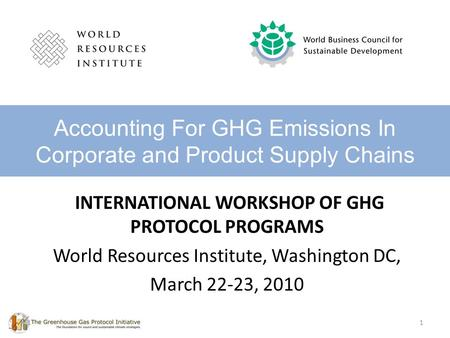 Accounting For GHG Emissions In Corporate and Product Supply Chains
