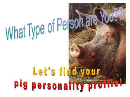 The PIG Personality Profile Toward the top of the paper, you are a positive, optimistic person. Toward the middle of the page (top to bottom), you are.