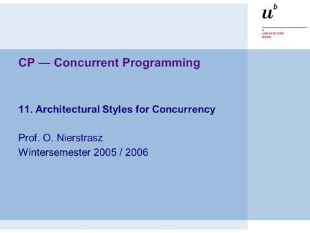 CP — Concurrent Programming 11. Architectural Styles for Concurrency Prof. O. Nierstrasz Wintersemester 2005 / 2006.