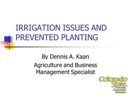 IRRIGATION ISSUES AND PREVENTED PLANTING By Dennis A. Kaan Agriculture and Business Management Specialist.