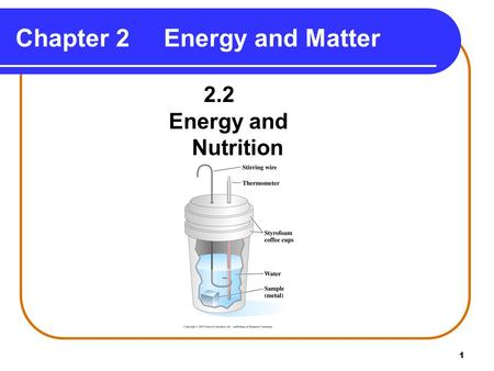 1 Chapter 2Energy and Matter 2.2 Energy and Nutrition.