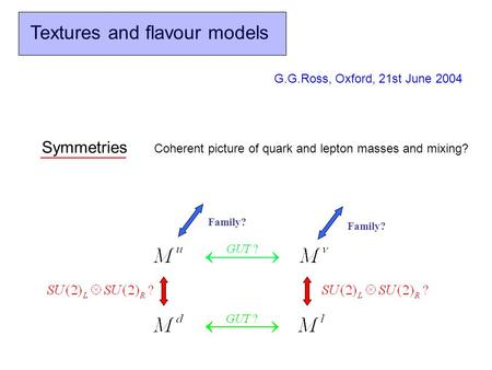Textures and flavour models G.G.Ross, Oxford, 21st June 2004 Family? Symmetries Coherent picture of quark and lepton masses and mixing?