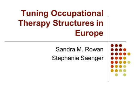 Tuning Occupational Therapy Structures in Europe Sandra M. Rowan Stephanie Saenger.