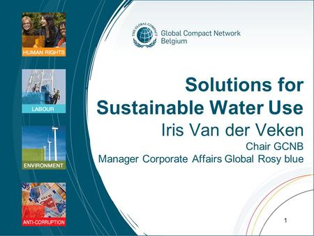 Solutions for Sustainable Water Use Iris Van der Veken Chair GCNB Manager Corporate Affairs Global Rosy blue 1.
