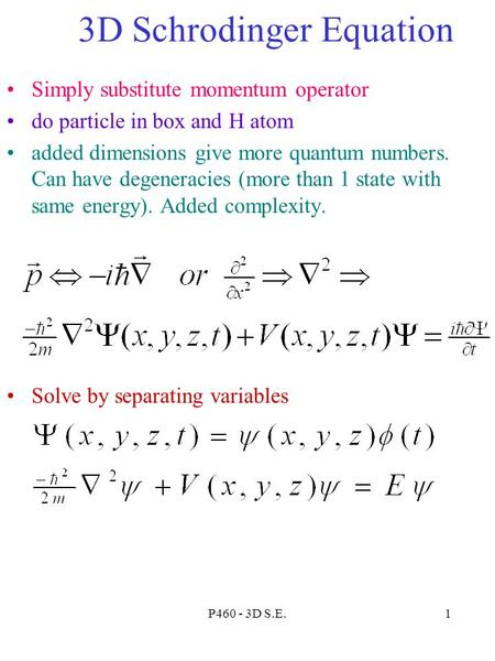 3D Schrodinger Equation