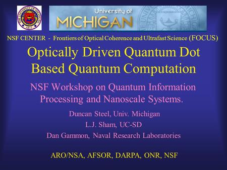 Optically Driven Quantum Dot Based Quantum Computation NSF Workshop on Quantum Information Processing and Nanoscale Systems. Duncan Steel, Univ. Michigan.