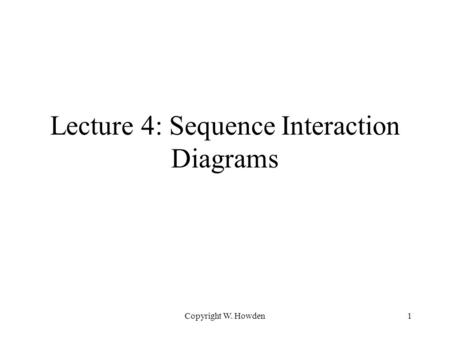 Copyright W. Howden1 Lecture 4: Sequence Interaction Diagrams.