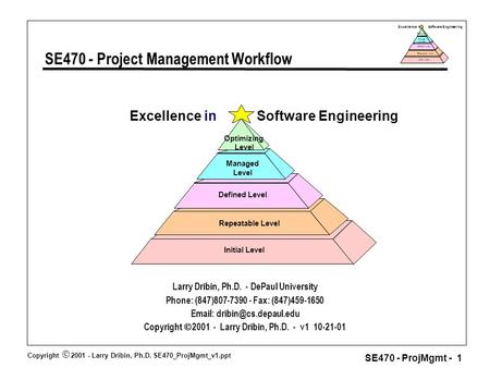 Copyright  2001 - Larry Dribin, Ph.D. SE470_ProjMgmt_v1.ppt SE470 - ProjMgmt - 1 Excellence in Software Engineering Repeatable Level Defined Level Manage.