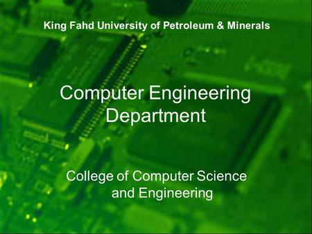 Computer Engineering Department