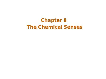 Chapter 8 The Chemical Senses. Introduction Animals depend on the chemical senses to identify nourishment, poison, potential mate Chemical sensation –Oldest.