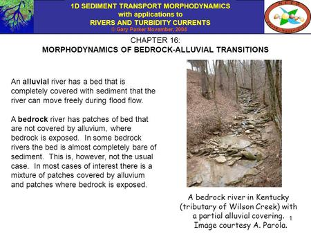 1D SEDIMENT TRANSPORT MORPHODYNAMICS with applications to RIVERS AND TURBIDITY CURRENTS © Gary Parker November, 2004 1 CHAPTER 16: MORPHODYNAMICS OF BEDROCK-ALLUVIAL.