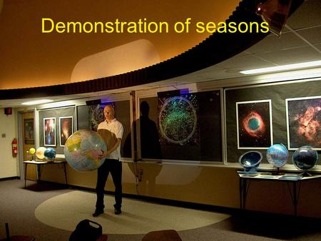 Demonstration of seasons. Procedure 1.Identify the corners of the room as North, South, East and West. 2. Student A is at the centre of the classroom.