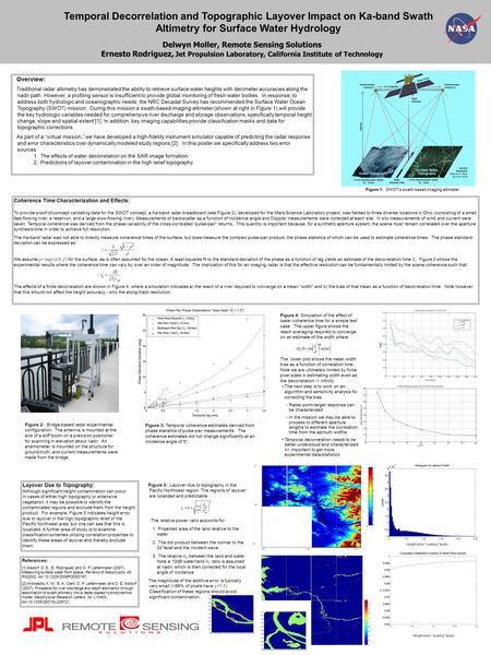 "Height error ""scaling"" factor Temporal Decorrelation and Topographic Layover Impact on Ka-band Swath Altimetry for Surface Water Hydrology Delwyn Moller,"