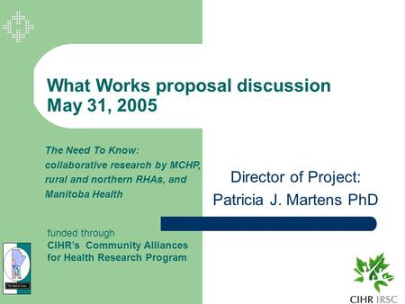 What Works proposal discussion May 31, 2005 Director of Project: Patricia J. Martens PhD The Need To Know: collaborative research by MCHP, rural and northern.