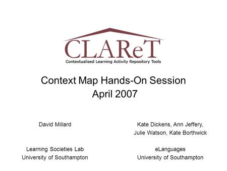 Context Map Hands-On Session April 2007 David Millard Learning Societies Lab University of Southampton Kate Dickens, Ann Jeffery, Julie Watson, Kate Borthwick.