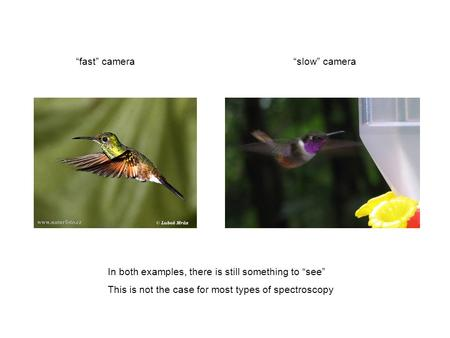 """fast"" camera""slow"" camera In both examples, there is still something to ""see"" This is not the case for most types of spectroscopy."
