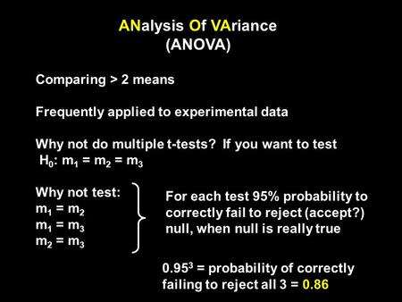 ANalysis Of VAriance (ANOVA) Comparing > 2 means Frequently applied to experimental data Why not do multiple t-tests? If you want to test H 0 : m 1 = m.