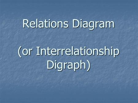 Relations Diagram (or Interrelationship Digraph).