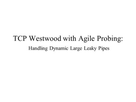 TCP Westwood with Agile Probing: Handling Dynamic Large Leaky Pipes.