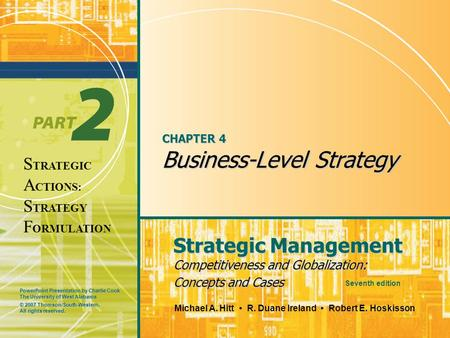 case corporate and business level strategies A business-level strategy is an integrated and coordinated set of commitments and actions that firms use to gain a competitive advantage by exploiting core.
