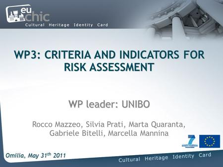 WP3: CRITERIA AND INDICATORS FOR RISK ASSESSMENT P leader: UNIBO WP3: CRITERIA AND INDICATORS FOR RISK ASSESSMENT WP leader: UNIBO Rocco Mazzeo, Silvia.