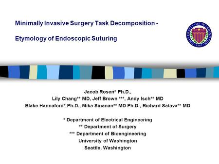 Minimally Invasive Surgery Task Decomposition - Etymology of Endoscopic Suturing Jacob Rosen* Ph.D., Lily Chang** MD, Jeff Brown ***, Andy Isch** MD Blake.