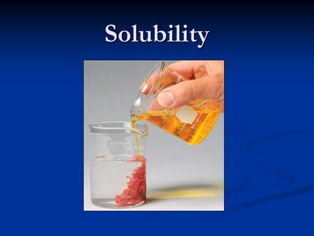 "Solubility. Solubility ""Insoluble"" salts are governed by equilibrium reactions, and are really sparingly soluble. There is a dynamic equilibrium between."