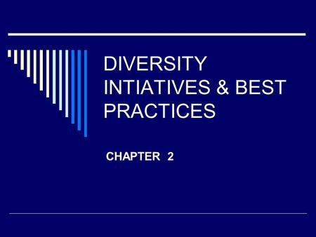 DIVERSITY INTIATIVES & BEST PRACTICES CHAPTER 2. Organization's Interest  Is a Productivity Issue Adversely affects employee relations Attitudes Retention.