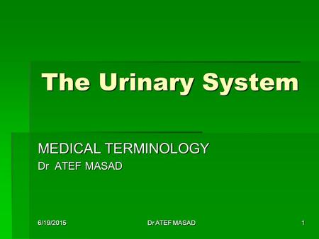 The Urinary System MEDICAL TERMINOLOGY Dr ATEF MASAD 6/19/2015Dr ATEF MASAD1.