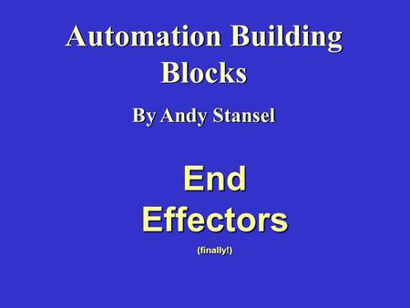 Automation Building Blocks