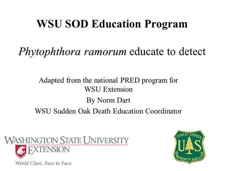 Phytophthora ramorum WSU SOD Education Program Phytophthora ramorum educate to detect Adapted from the national PRED program for WSU Extension By Norm.