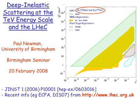 Deep-Inelastic Scattering at the TeV Energy Scale and the LHeC Paul Newman, University of Birmingham Birmingham Seminar 20 February 2008 - JINST 1 (2006)