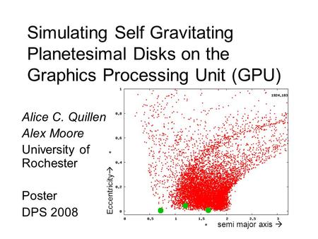 Simulating Self Gravitating Planetesimal Disks on the Graphics Processing Unit (GPU) Alice C. Quillen Alex Moore University of Rochester Poster DPS 2008.