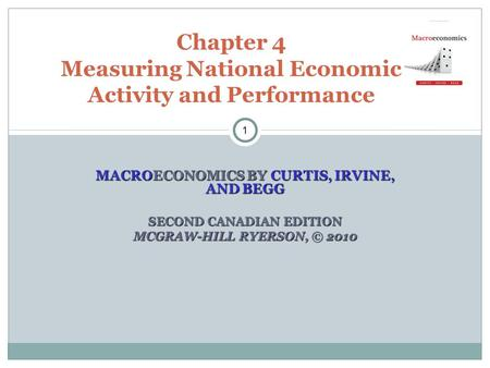 MACROECONOMICS BY CURTIS, IRVINE, AND BEGG SECOND CANADIAN EDITION MCGRAW-HILL RYERSON, © 2010 Chapter 4 Measuring National Economic Activity and Performance.