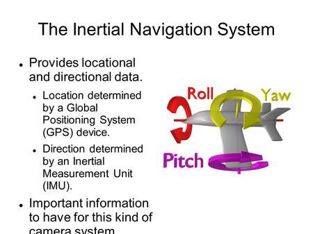 The Inertial Navigation System Provides locational and directional data. Location determined by a Global Positioning System (GPS) device. Direction determined.