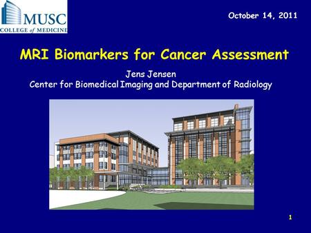 1 MRI Biomarkers for Cancer Assessment October 14, 2011 Jens Jensen Center for Biomedical Imaging and Department of Radiology.
