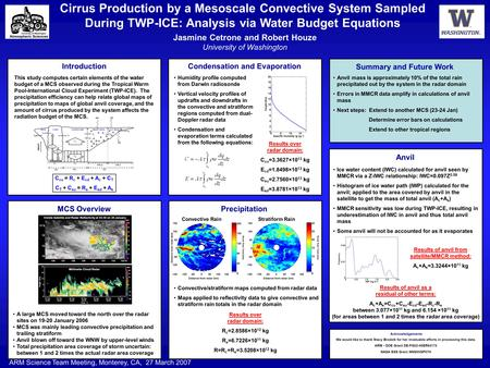 Cirrus Production by a Mesoscale Convective System Sampled During TWP-ICE: Analysis via Water Budget Equations Jasmine Cetrone and Robert Houze University.