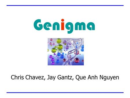 Chris Chavez, Jay Gantz, Que Anh Nguyen Genigma. Company Info Founded in December 2002 Located in Newton, MA Three Employees –George Berbeco, Chairman.