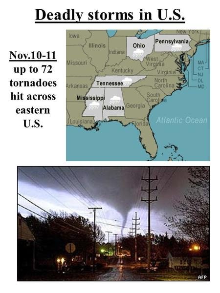 Deadly storms in U.S. Nov.10-11 up to 72 tornadoes hit across eastern U.S.