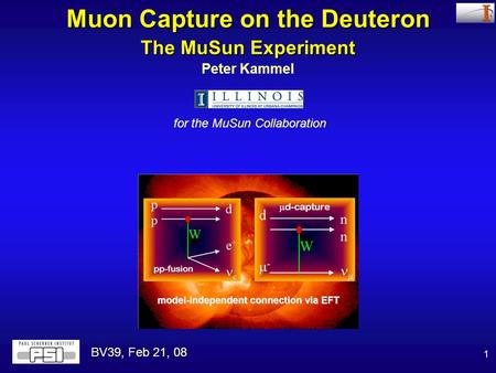 1 Peter Kammel for the MuSun Collaboration Muon Capture on the Deuteron The MuSun Experiment BV39, Feb 21, 08.
