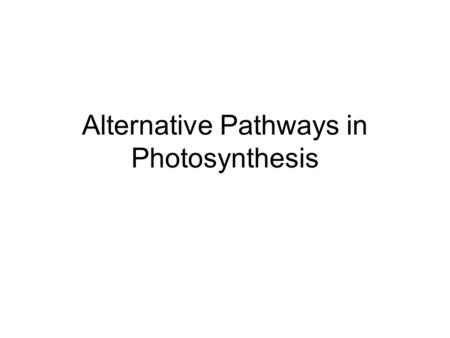 Alternative Pathways in Photosynthesis. Figure 10.20 A review of photosynthesis.